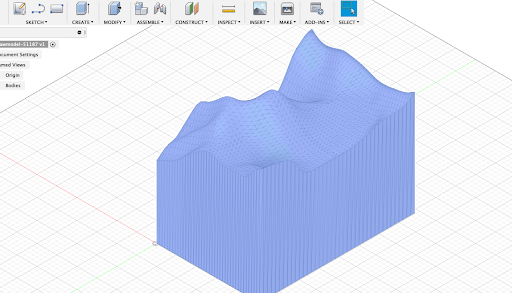 This is what the Mesh will look like once it's imported into Fusion 360.