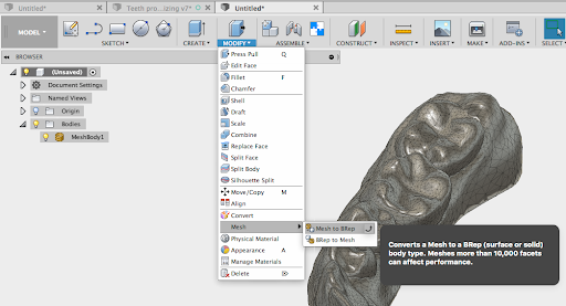 Autodesk has a great guide for converting a Mesh to a BRep file in Fusion 360.