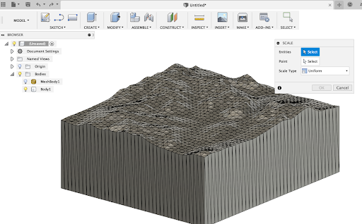 Modifying and scaling your topo map in Fusion 360.