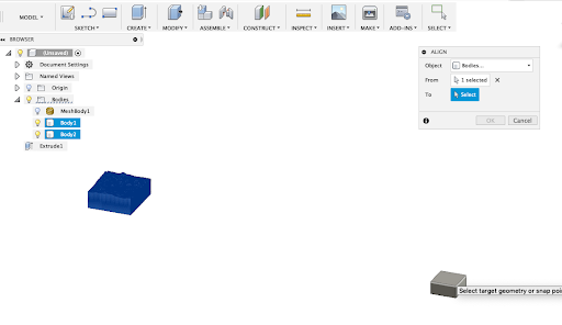 Aligning your topo map with the new object in Fusion 360.