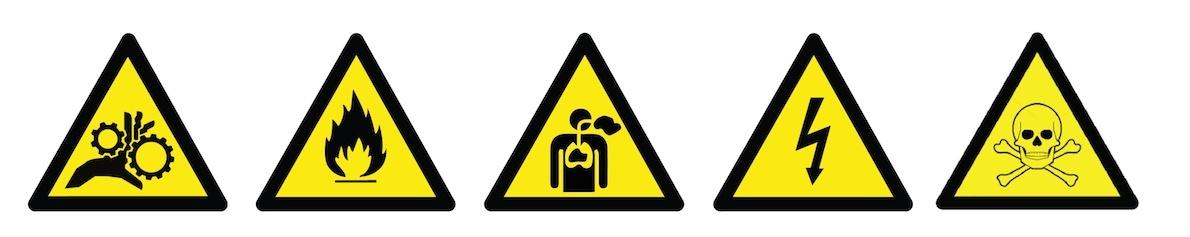Hazard signs.