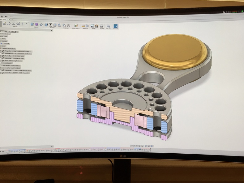 Sectional analysis of spinner in Fusion 360.