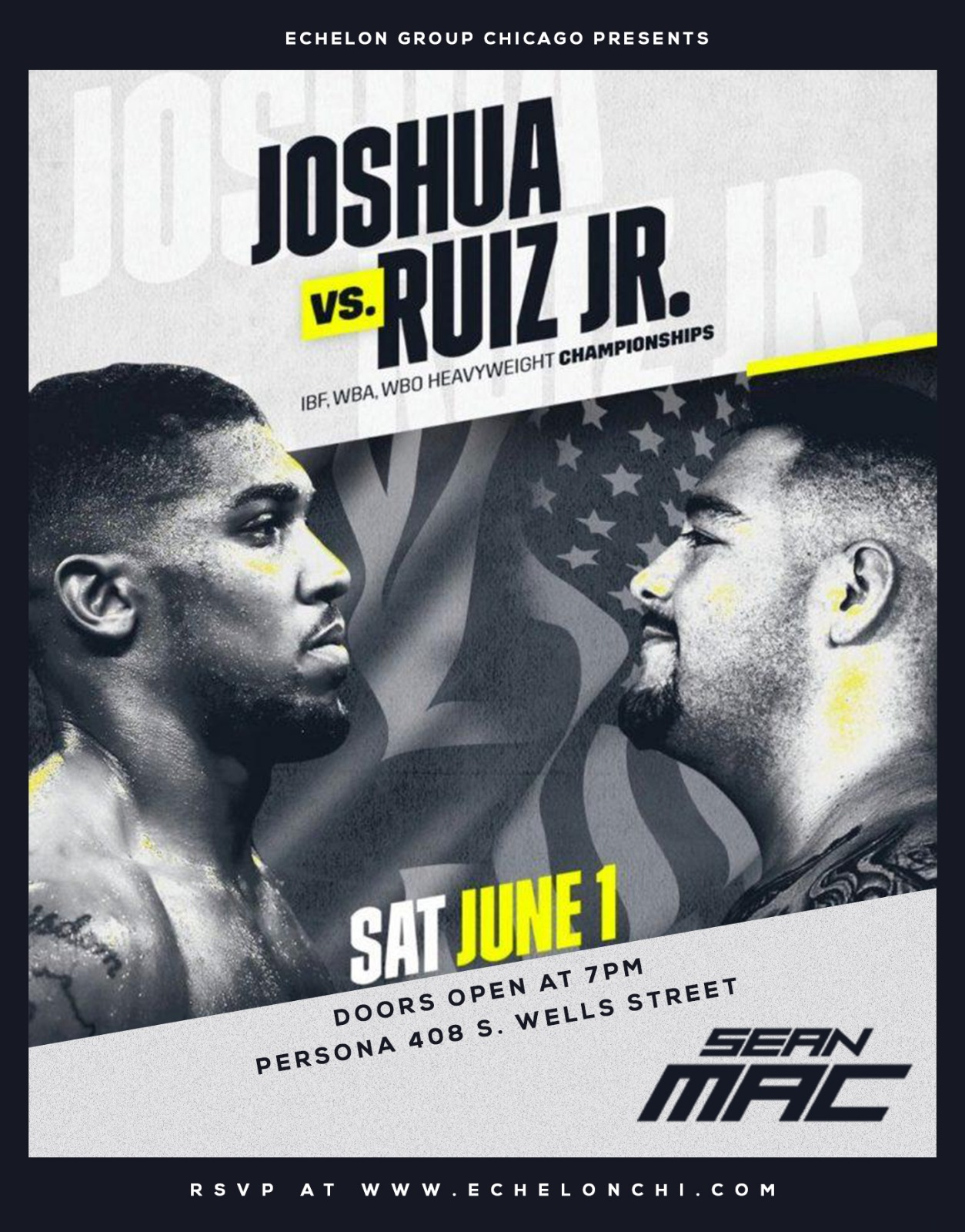 Heavy weight Boxing is back!!! Join us for the Heavyweight boxing match between the Unified Heavy Weight Champion-Anthony Joshua, and Heavy weight- Andy Ruiz. We will be showing this fight live at one of the newest upscale spots in the city- Persona.
