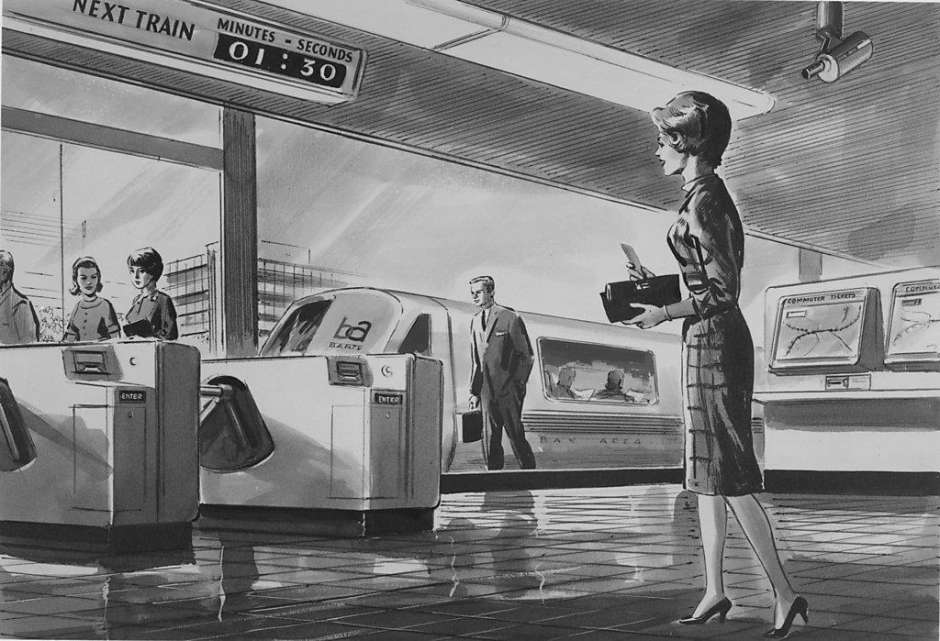 BART tour of the East Bay - historic drawing of fare gates