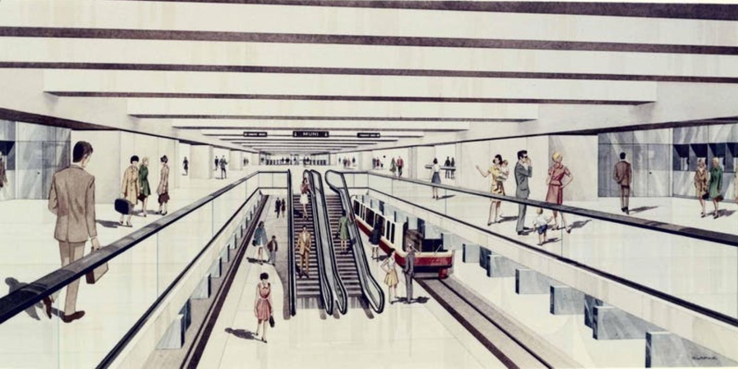 Historic rendering of Embarcadero BART station showing escalators to MUNI level