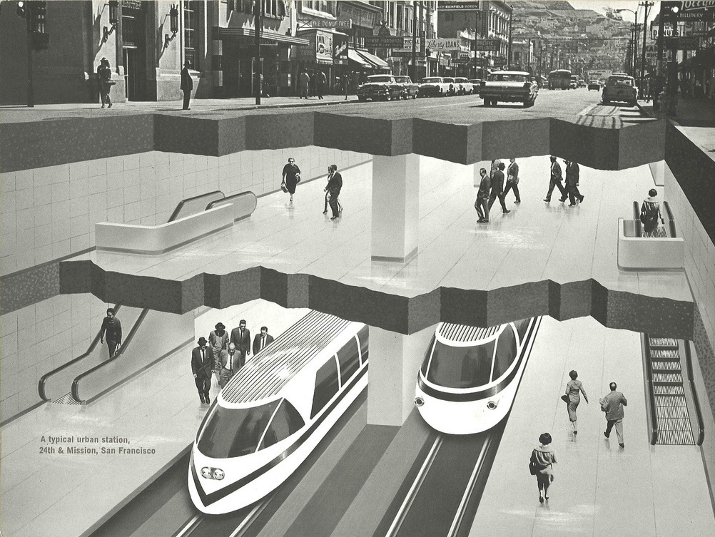 Early architect's rendering of BART station showing trains beneath Mission and 24th Streets in San Francisco