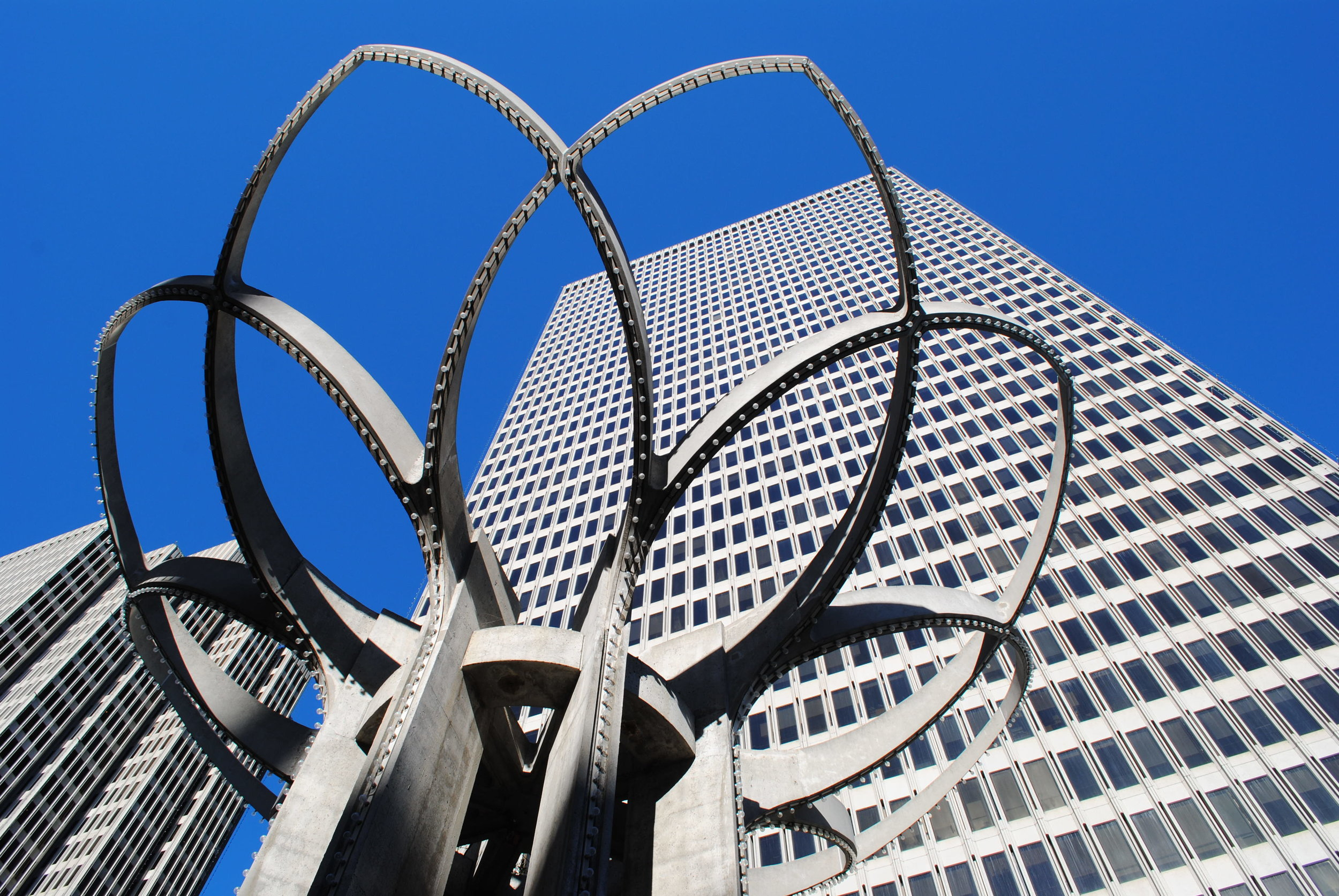 View of Embarcadero Center buildings with John Portman sculpture in the foreground