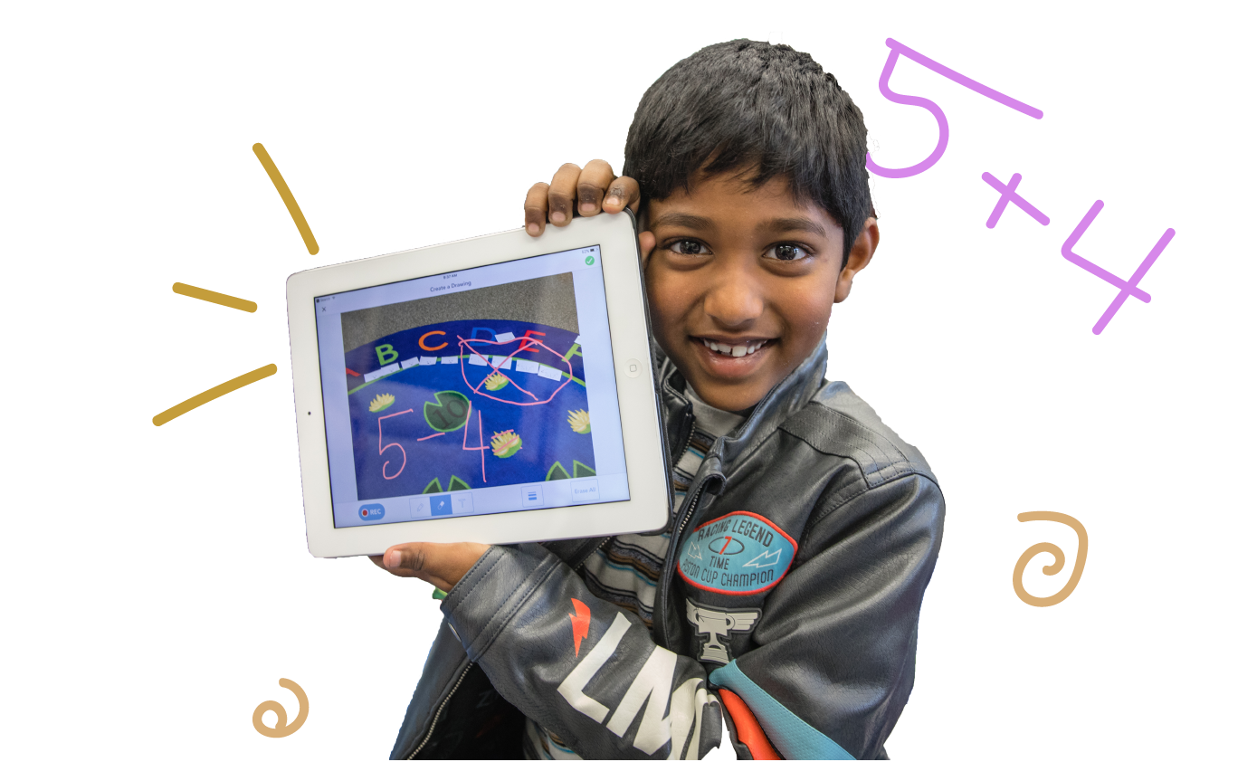Kid proudly holding up iPad with work