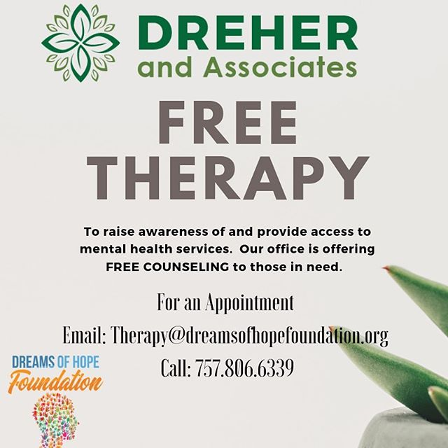 Free Therapy Call for an Appointment  - Free counseling for those in need of therapy. Contact our office 757.806.6339