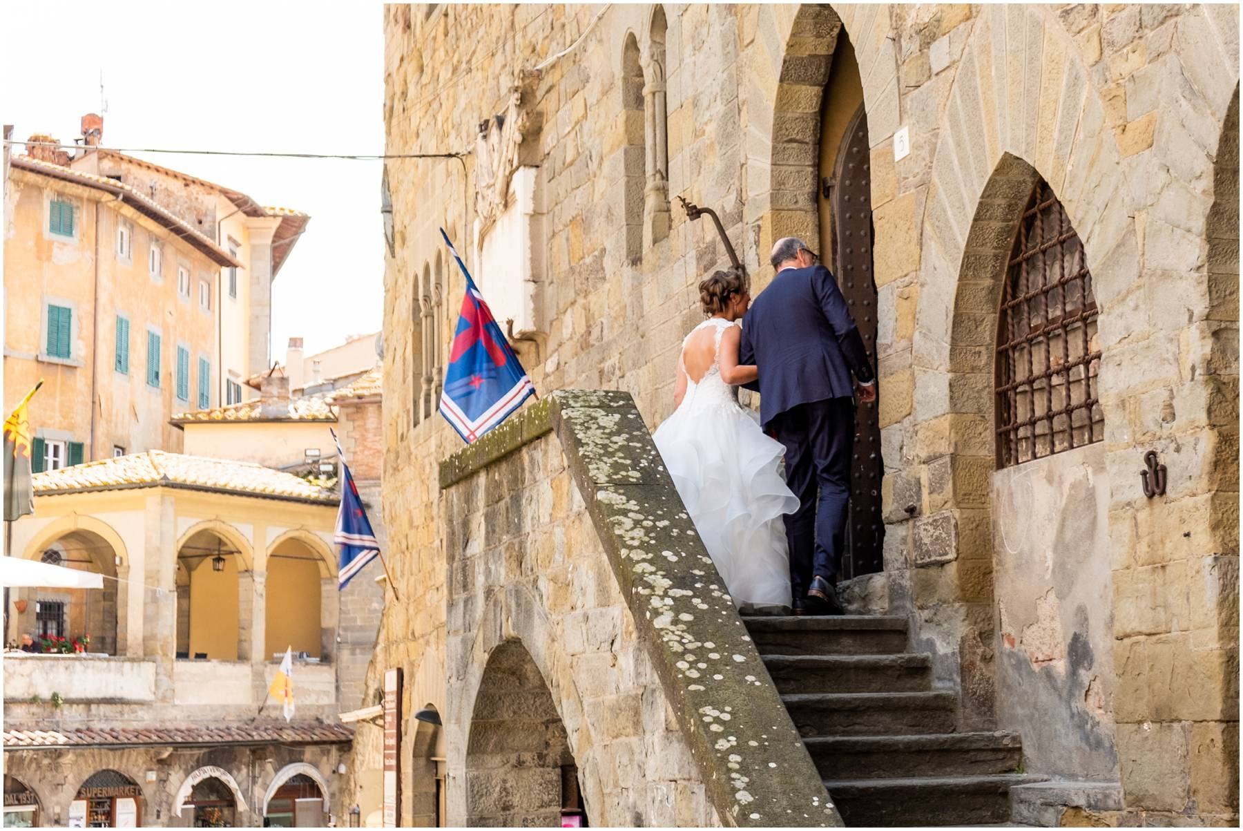 Cortona is a beautiful setting for getting married like this bride who was about to enter the church doors to walk down the aisle to meet her groom. It's also an amazing place to have your honeymoon!