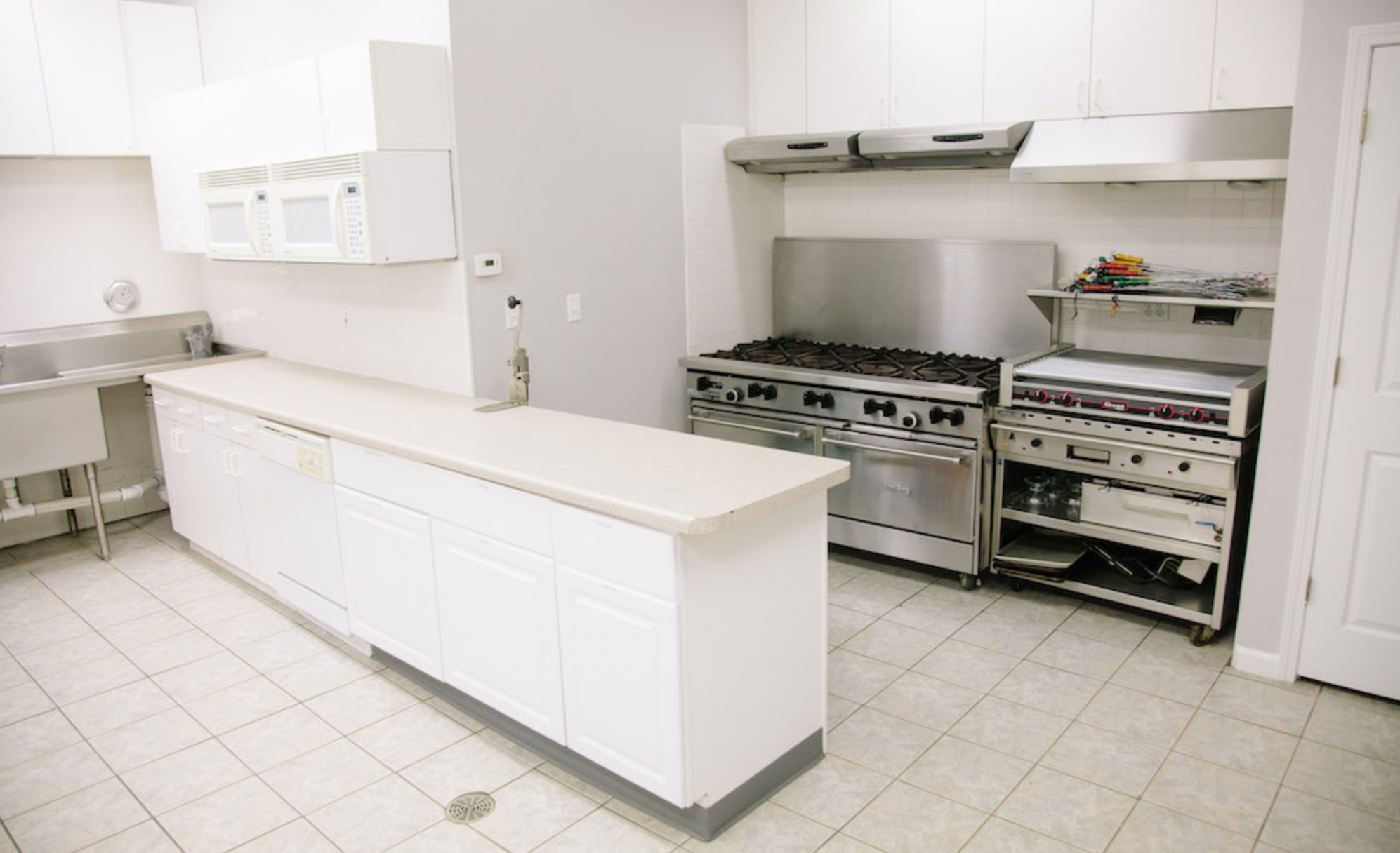 Industrial Kitchen - Inside of the pavilion you will find an industrial kitchen well equipped for large groups. With the pavilion rental, your church will have access to a commercial oven, triple basin sink, refrigeration, grills, restrooms and showers.
