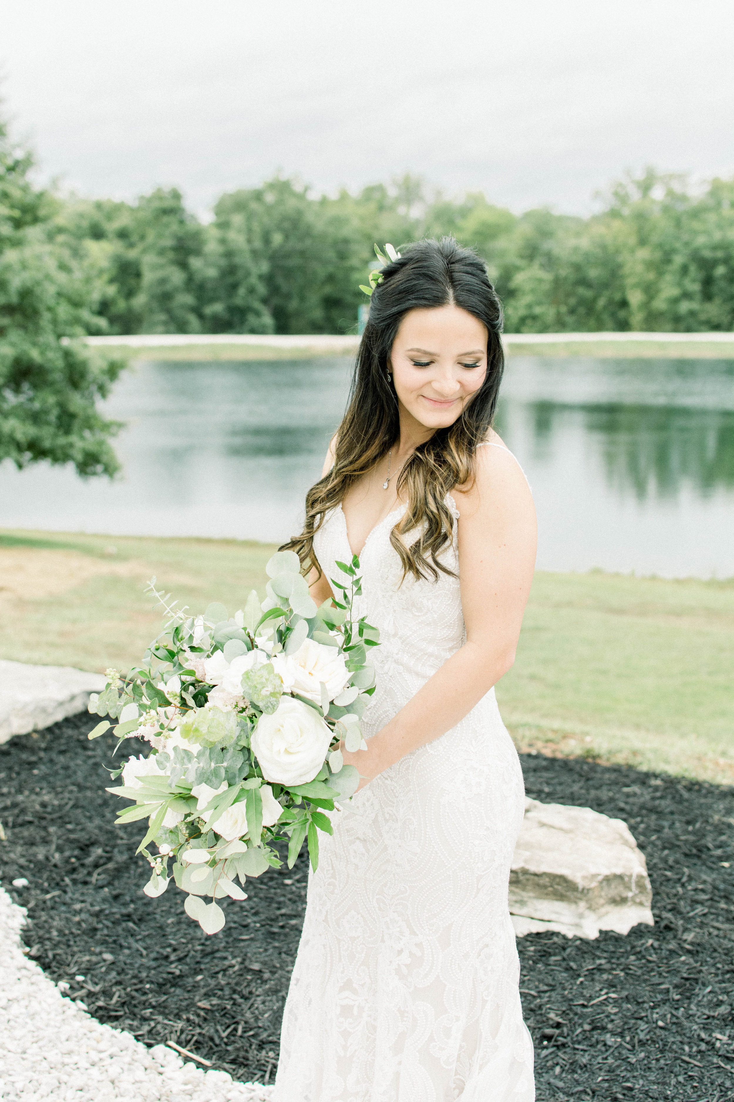 Lakefront Ceremonies - After your guests drive down our mile long private entrance overspread with wild flowers, the woods open up to a stunning 3 acre lake. Giant stone steps lead down from the barn, which create a perfect entrance before you say