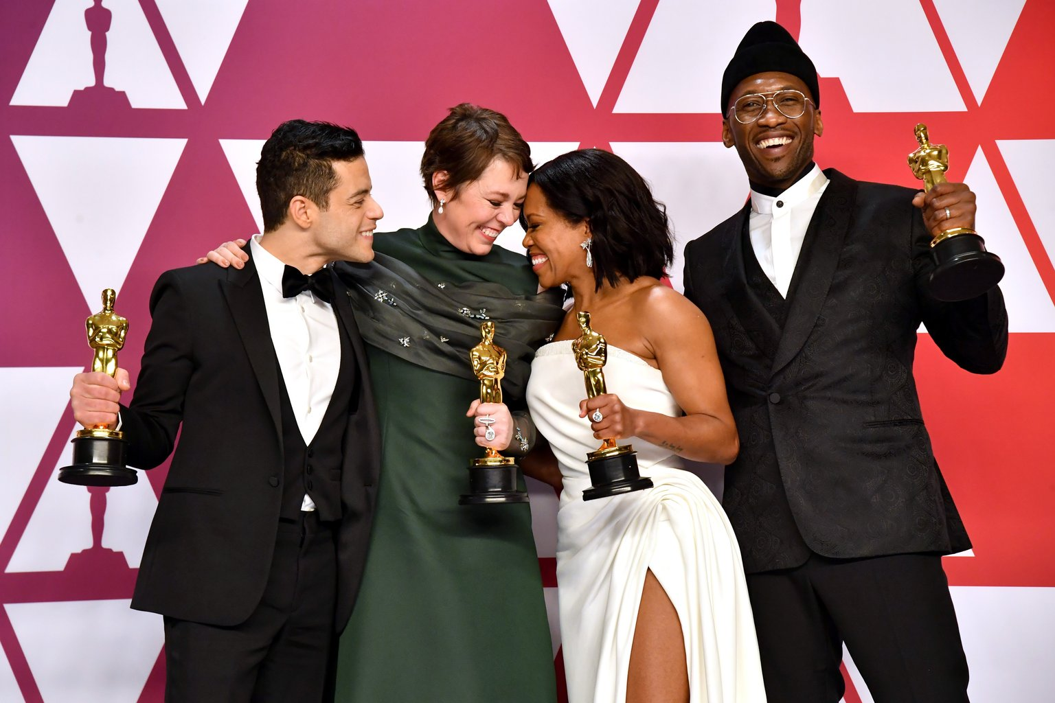 Photo: Rami Malek (Bohemian Rhapsody), Olivia Colman (The Favourite), Regina King (If Beale Street Could Talk) and Mahershala Ali (Green Book)