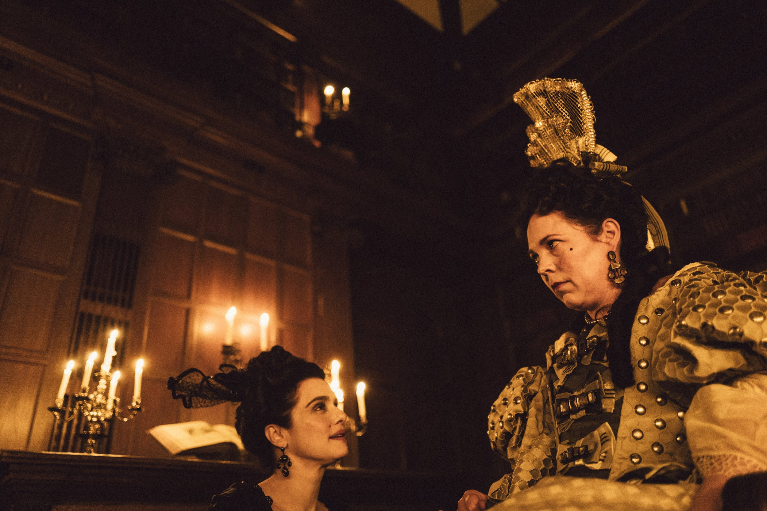 Rachel Weisz and Olivia Colman in The Favourite. Photo by Yorgos Lanthimos. © 2018 Twentieth Century Fox Film Corporation