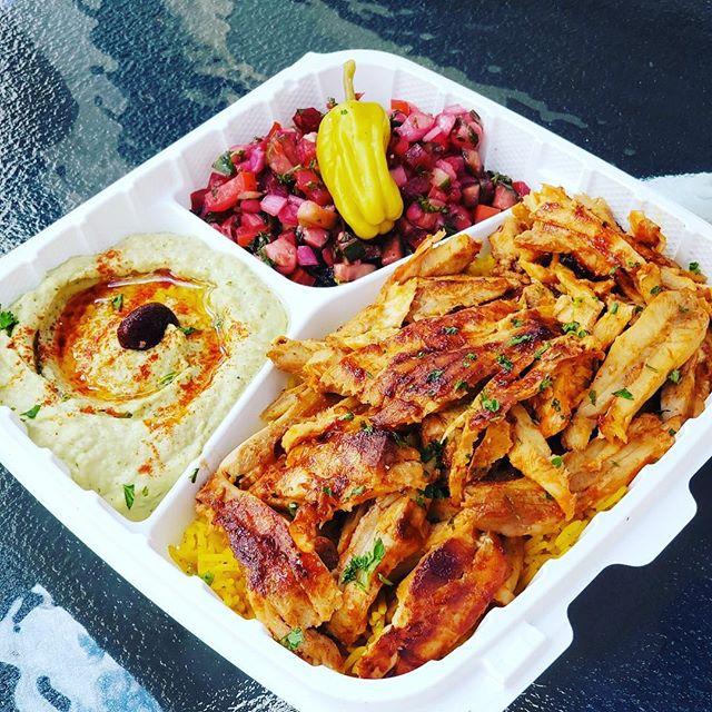 Chicken shawarma plate with jalapeño hummus, Iraqi salad and our yellow basmati rice  #shawarmaguys #shawarma #dinersdriveinsanddives #middleeasternfood #sandiegoeats #chickenshawarma #hummus #wagyu #wagyushawarma