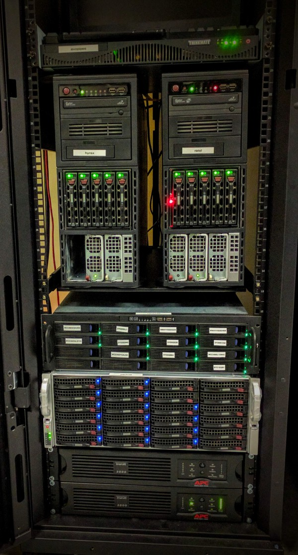 Some of the servers that power the Barker Lab: Ratel, hyrax, and packrat.