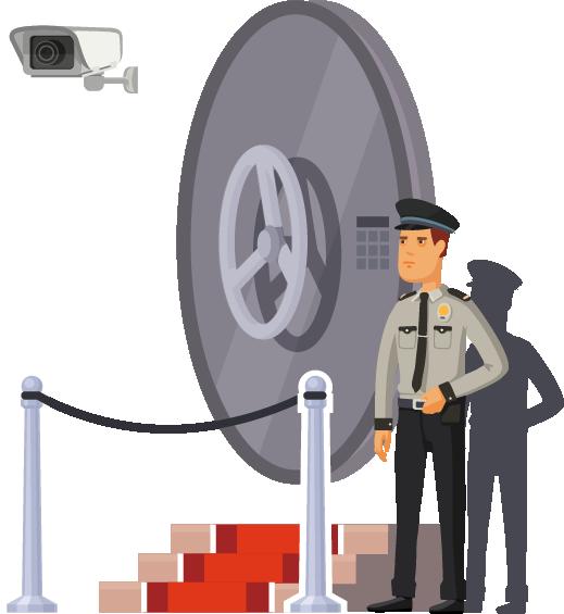 Bewakingsagent voor een kluis die de veiligheid in het oog houdt.
