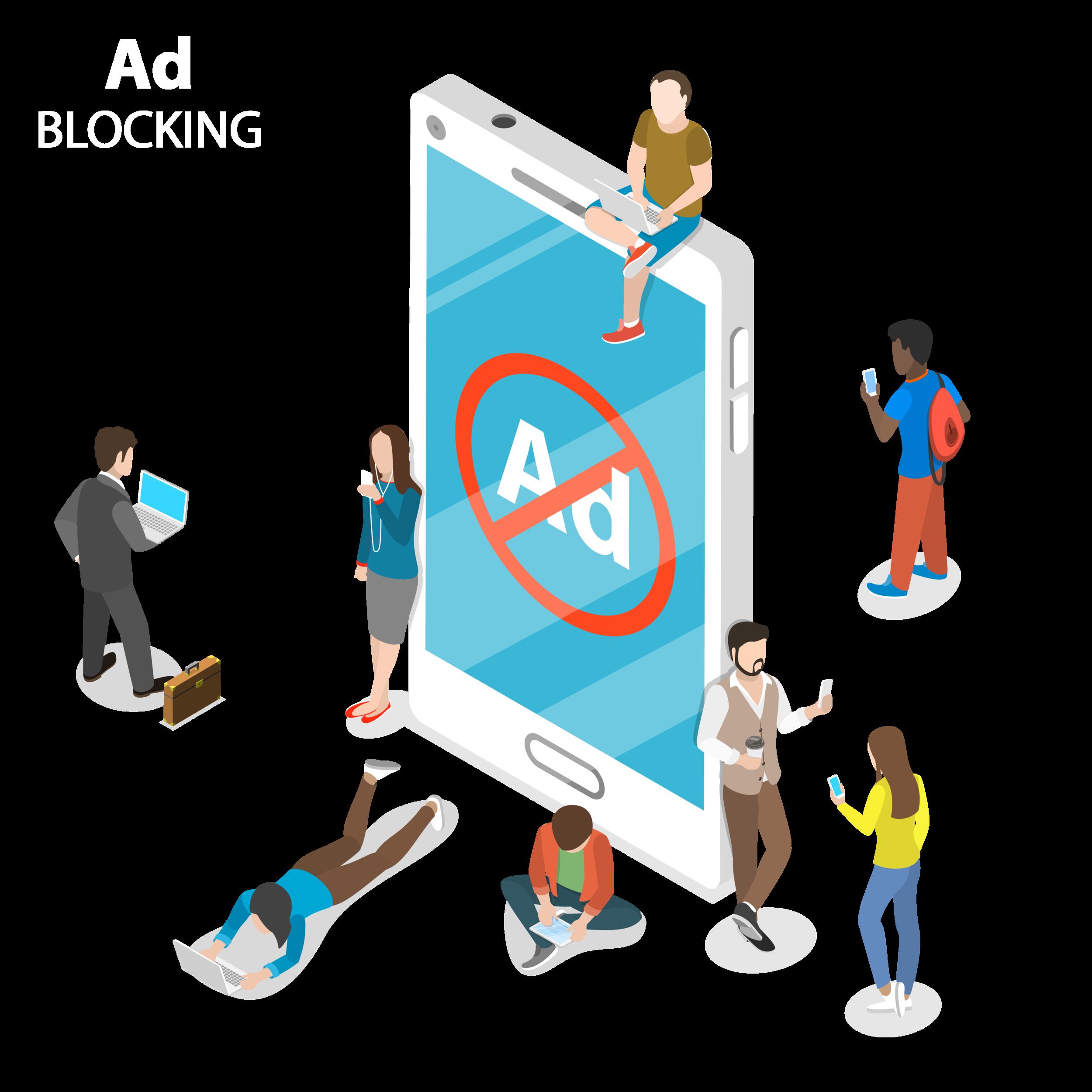 """Mensen die rond een grote smartphone zitten waar een bord met """"advertenties niet toegelaten"""" op te zien is."""