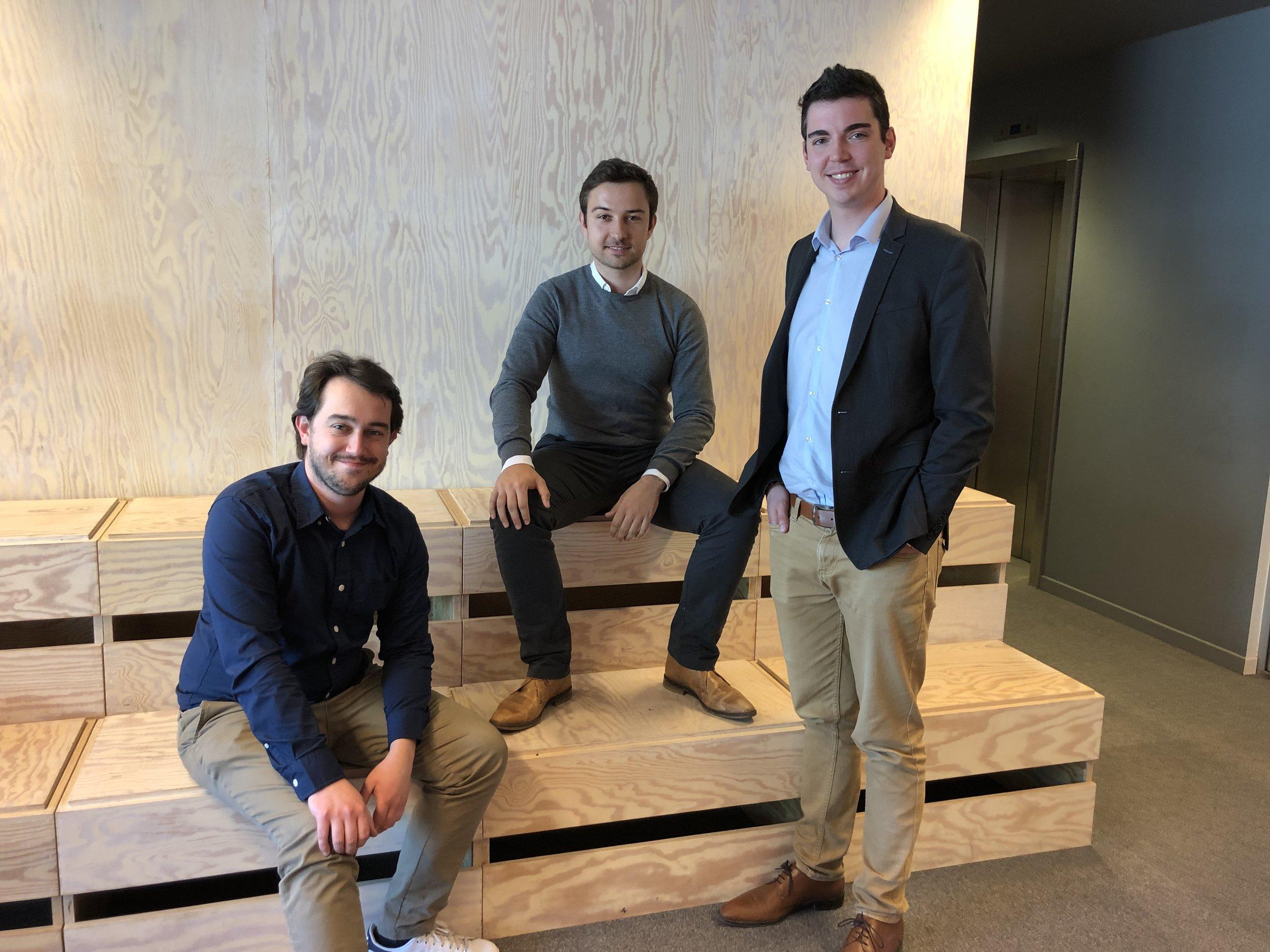 De oprichters van Digita. Van links naar rechts: Tom Haegemans, Lauro Vanderborght en Wouter Janssens.