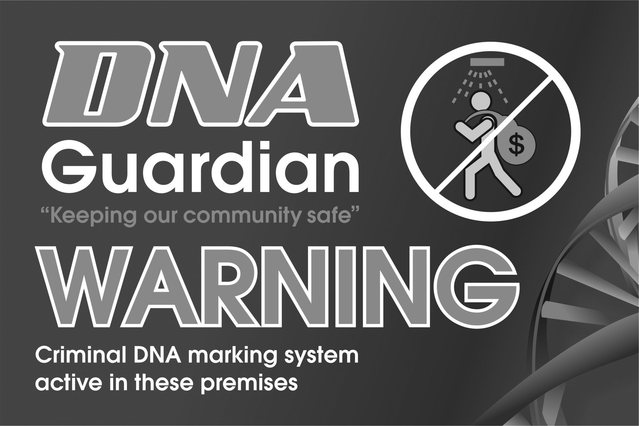 DNA Guardian warning 300x200 decal - BW.jpg