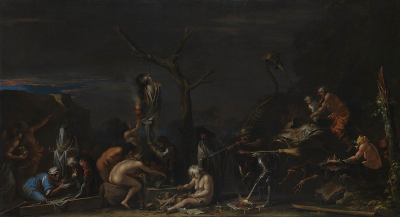 Salvator Rosa,     Witches at their incantations   c. 1646 (NG6491)  Oil on canvas, 72 x 132cm