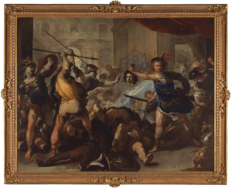 Luca Giordano,     Perseus turns Phineas and his followers to Stone     c. early 1680s (NG6487)  Oil on canvas, 285 x 366cm