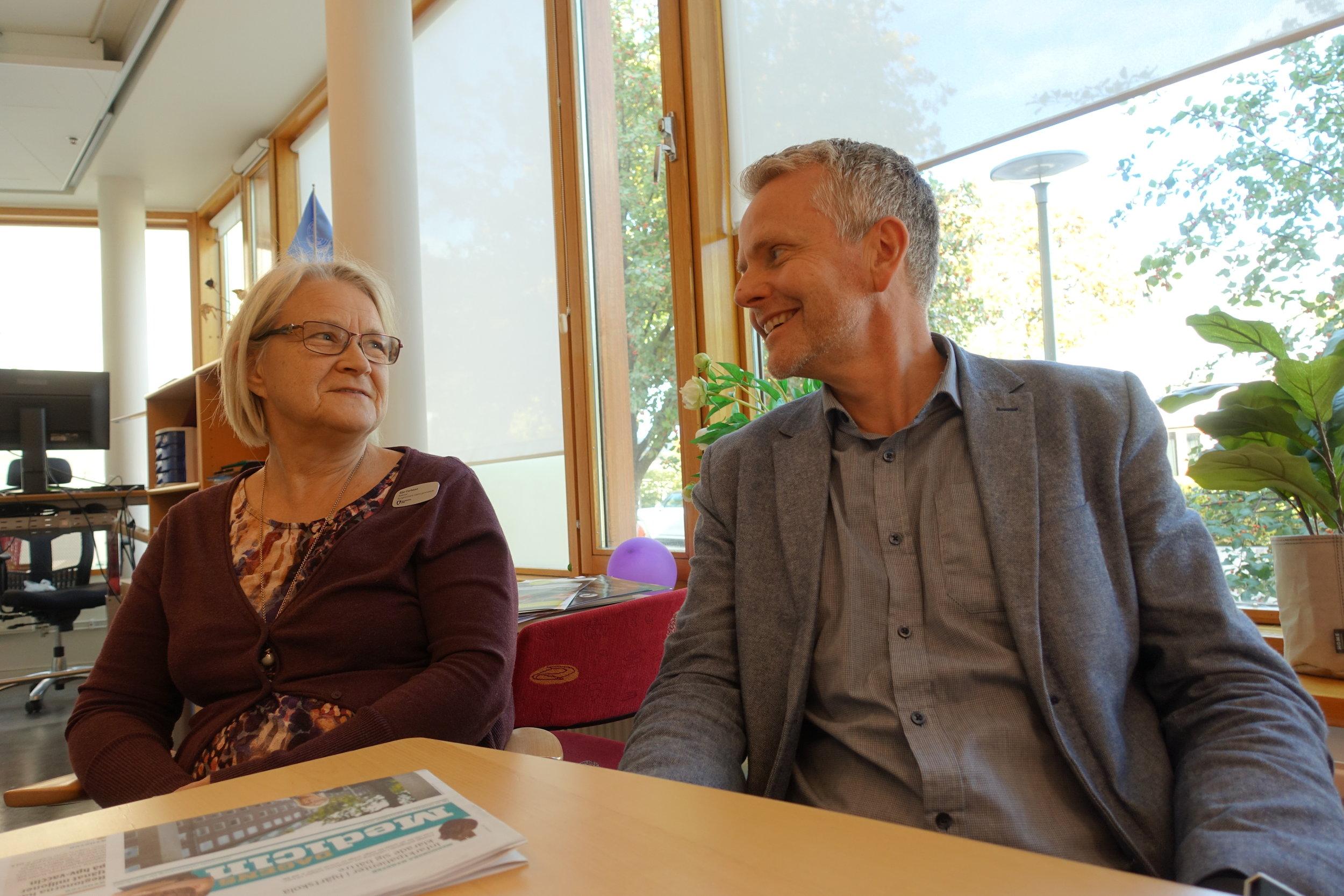 Eija Carlsson och Andreas Eriksson, rektorer på Kungsholmens Västra Gymnasium
