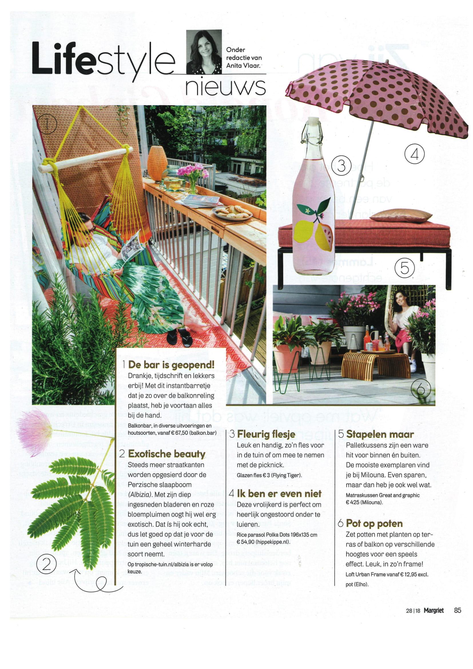Milouna matraskussens en maatkussens in Lifestyle Magazine