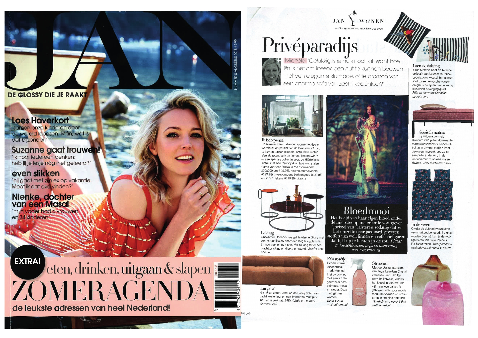 Milouna matraskussens en maatkussens in Jan Magazine