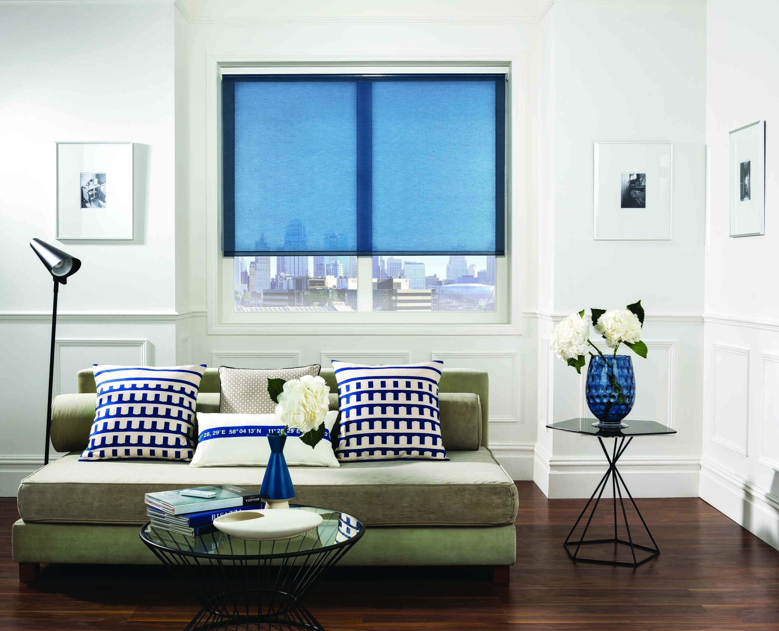 Roller Blinds      A popular option in any room. Available in a wide variety of fabrics, patterns, colours and styles. Our roller blinds can also be customised with shaped bottoms, braids, poles and decorative pulls and trims.