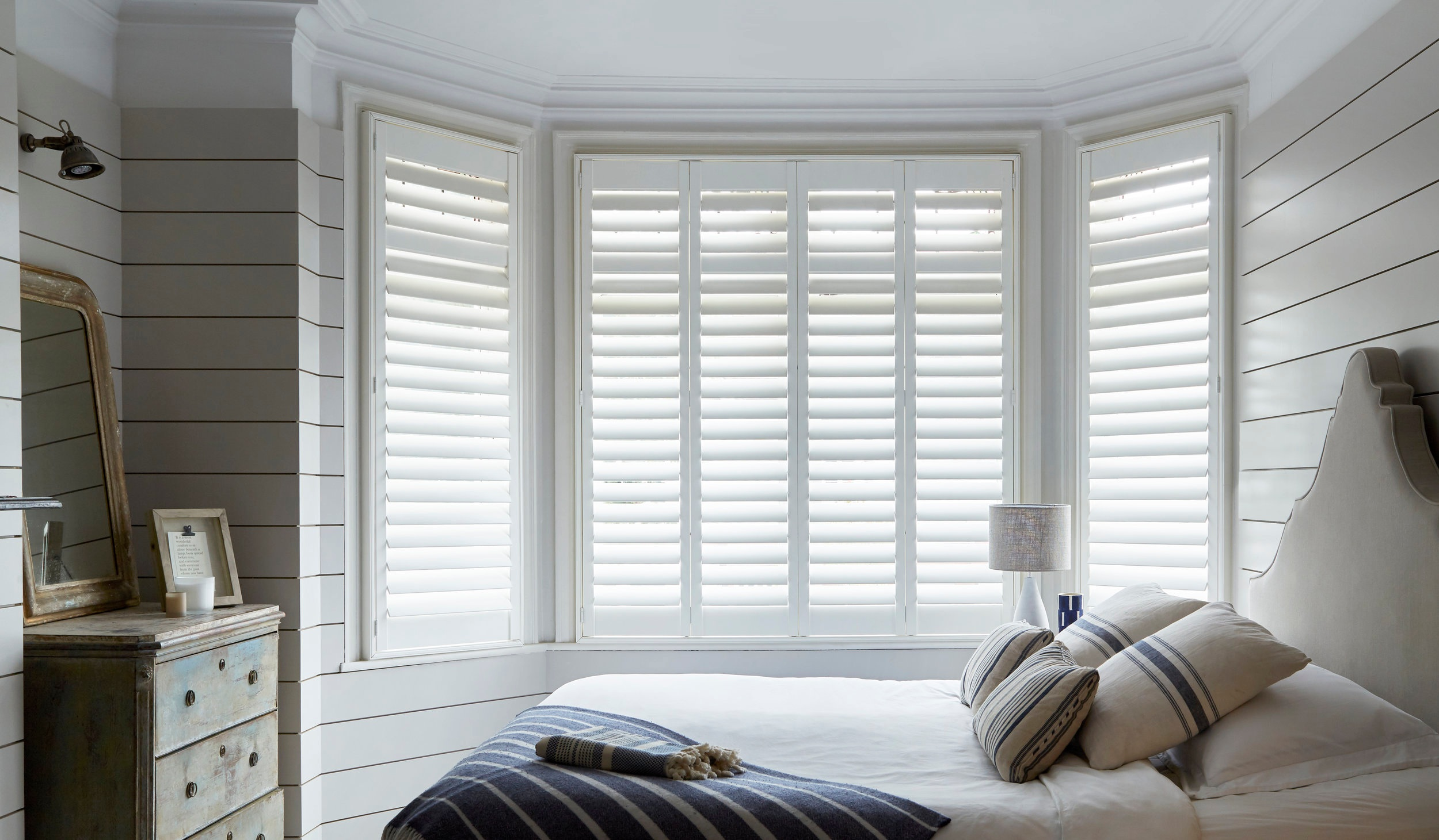 Bay Shutters      Our plantation shutters are perfect for bay windows – big or small.