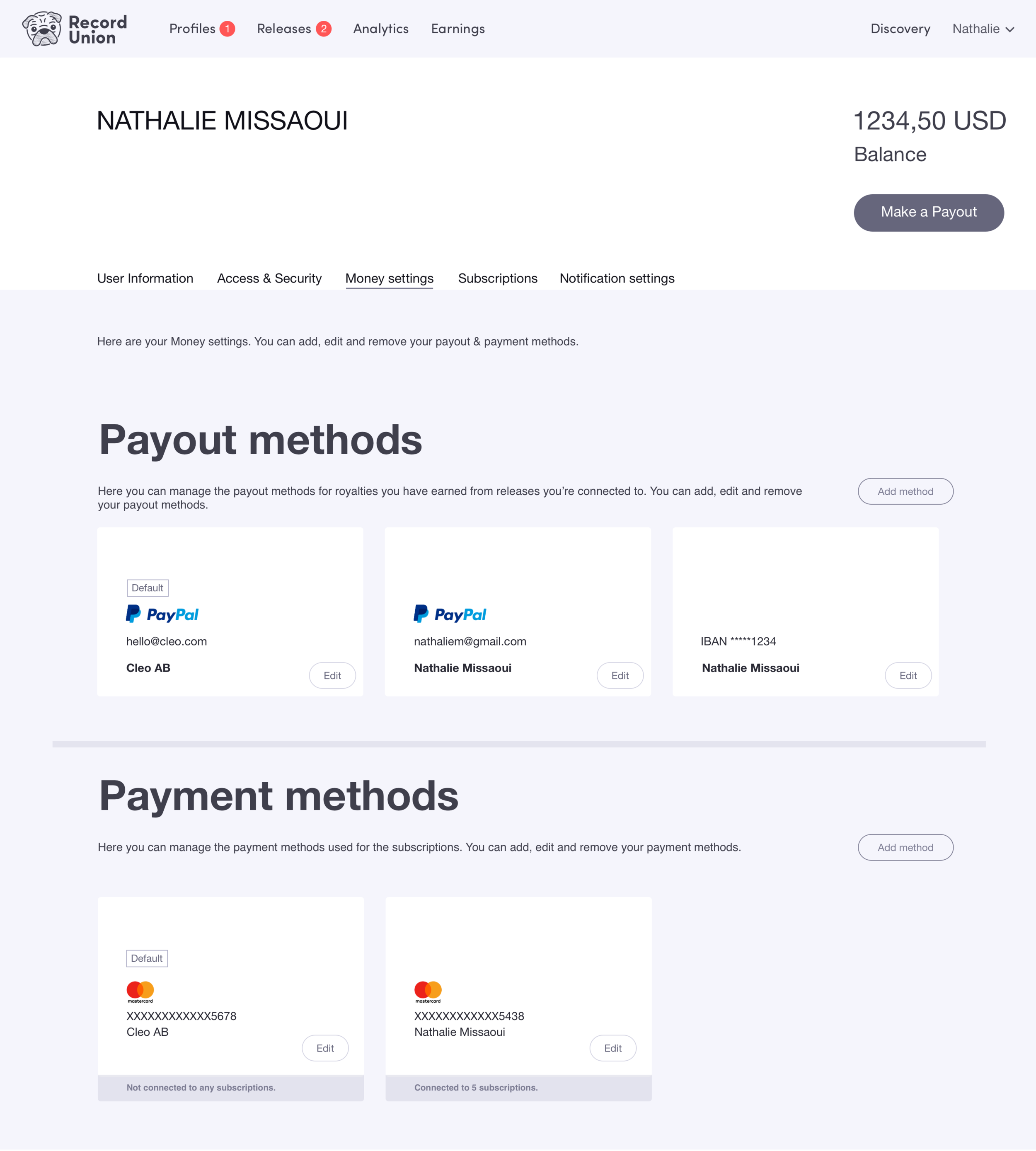Click the image to open InVision prototype for user journey: Edit Payout Method