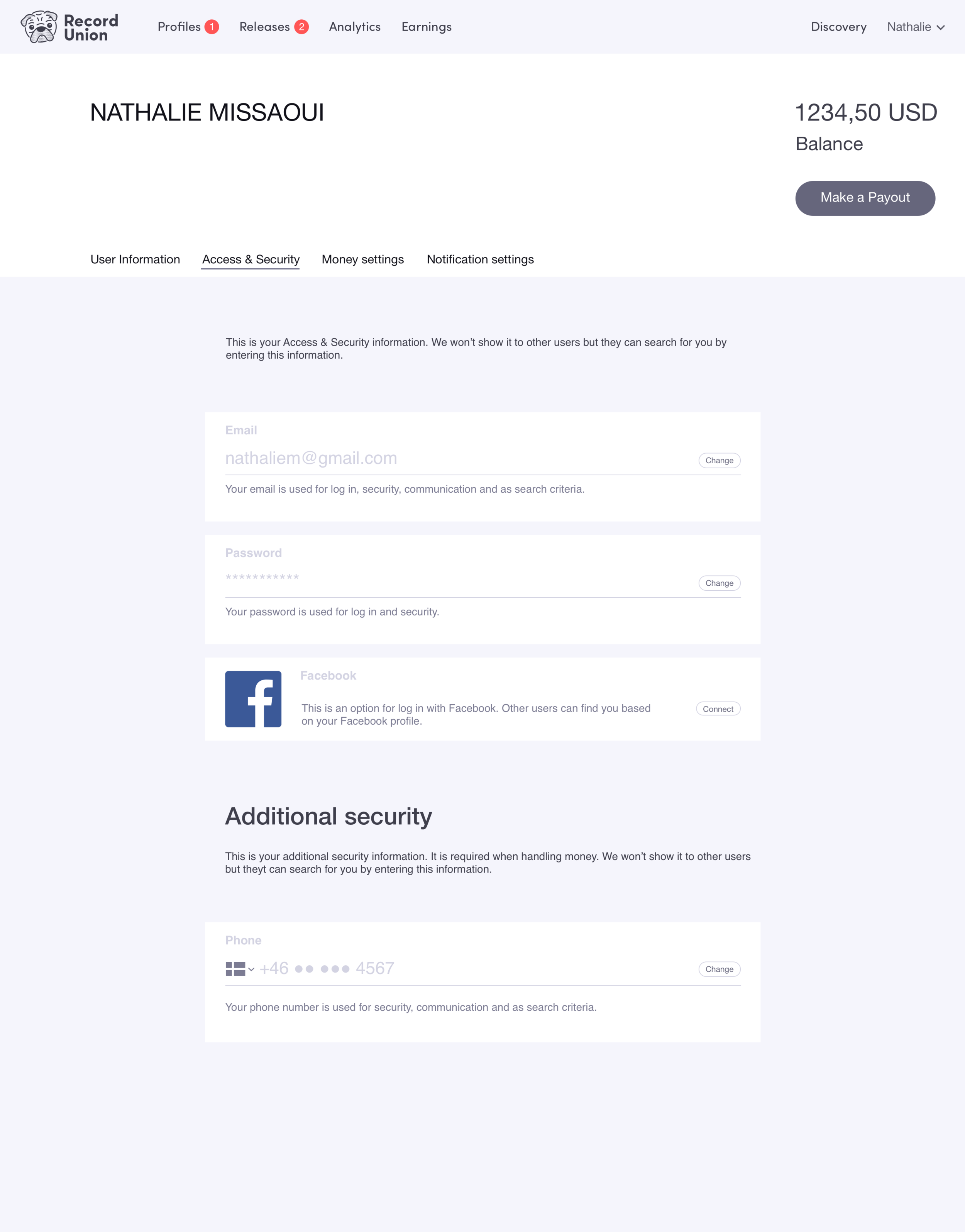 Click the image to open InVision prototype for user journey: Change Password.