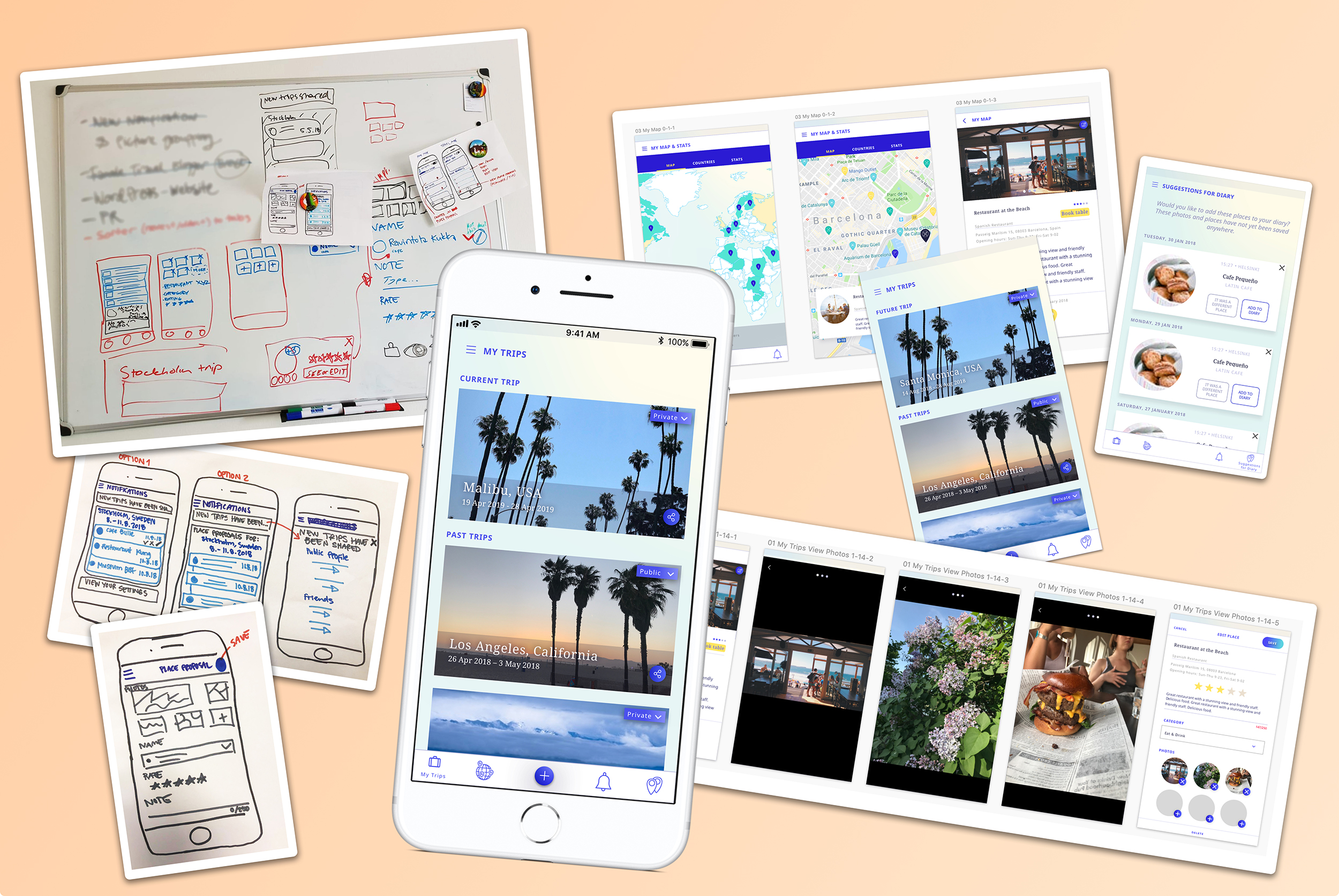 Here are some images of the UX & UI process I was working on for Wowanders app.
