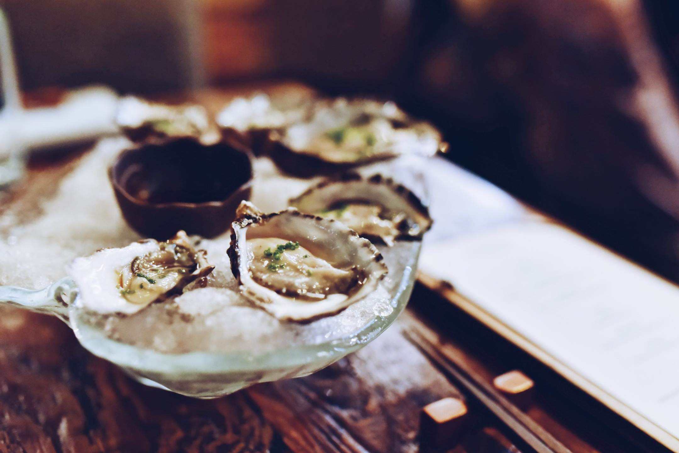 Oysters at Devonport's seafood restaurant, Pearl Oyster Bar & Cafe