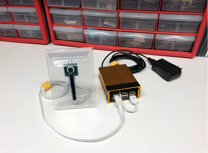 NOISY  prototype - Sound sensor sticker, cable, computing module in fashionable copper color and power adapter