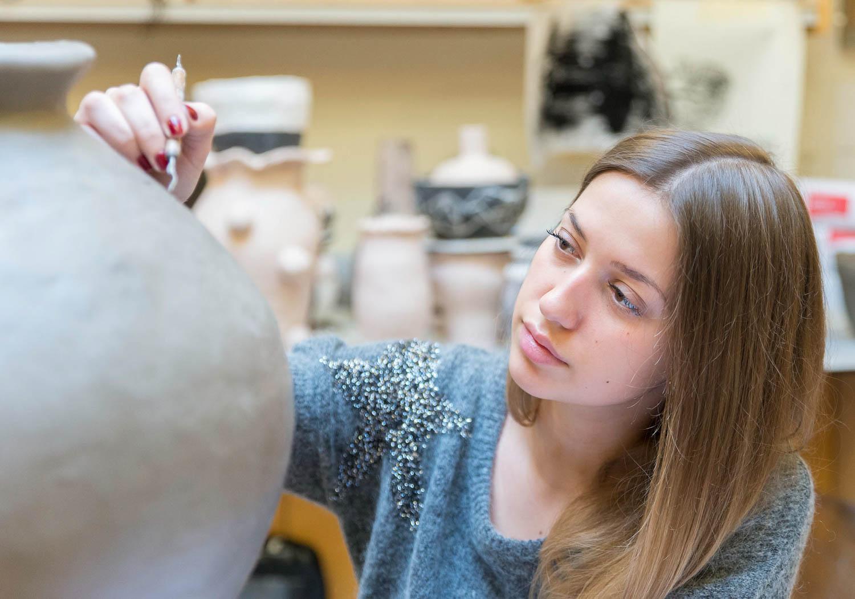 Ceramics student