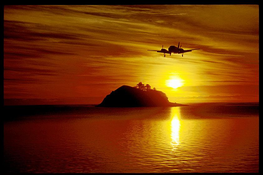 Plane landing at Lord Howe Island