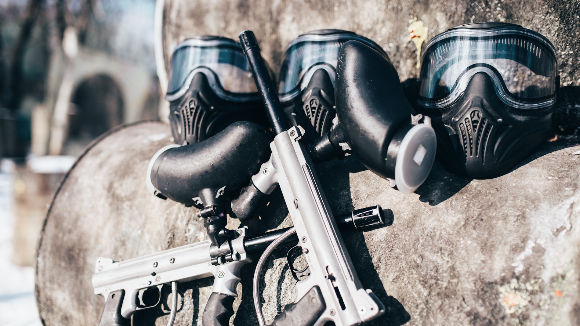 paintball-masks-with-glasses-and-marker-guns-P5TMWDZ.jpg