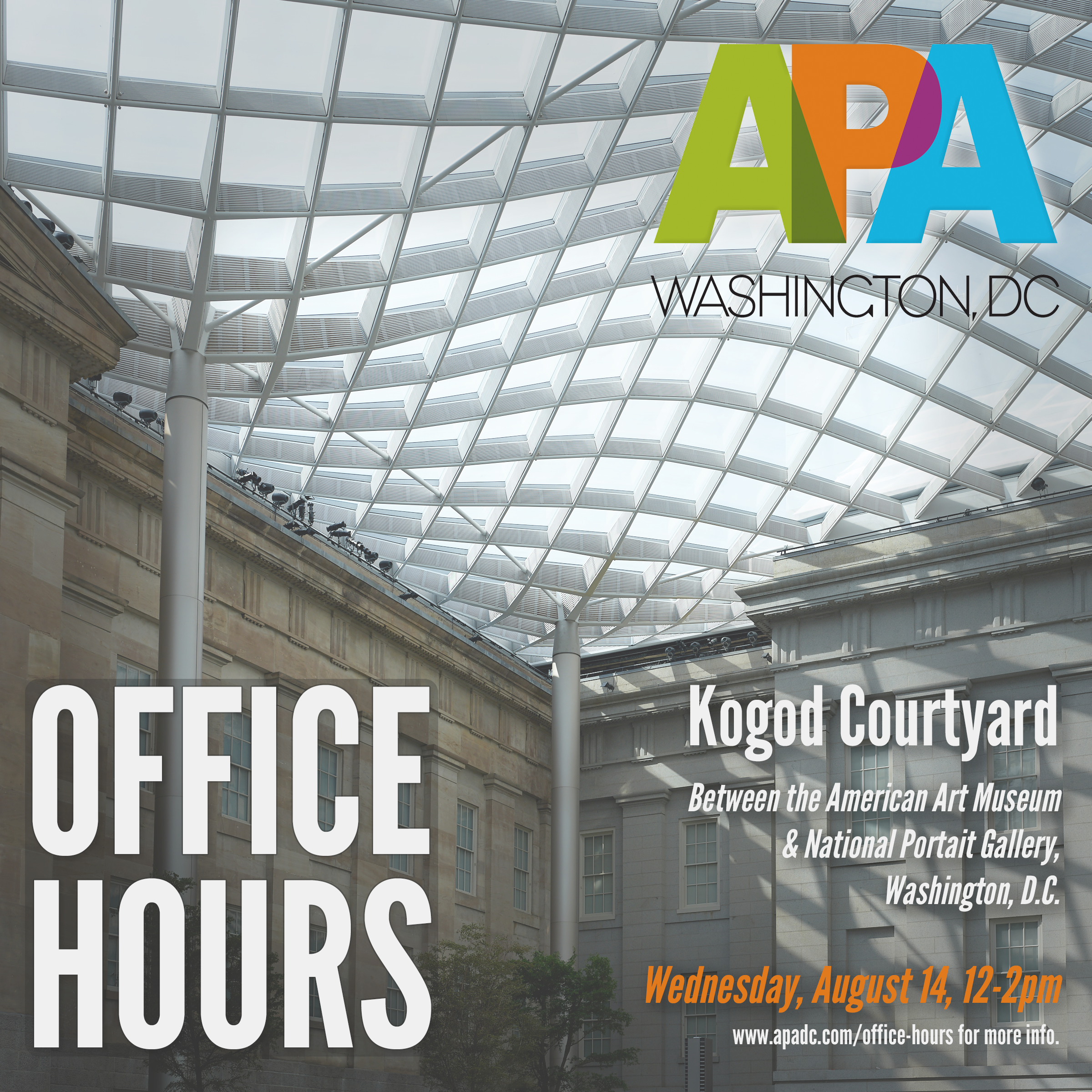 APA|DC Open Office Hours - 8/14, 12-2 pm, Kogod Courtyard next to the National Portrait Gallery. No theme this month, just stop by to talk about the industry, photography in general, or whatever comes up!