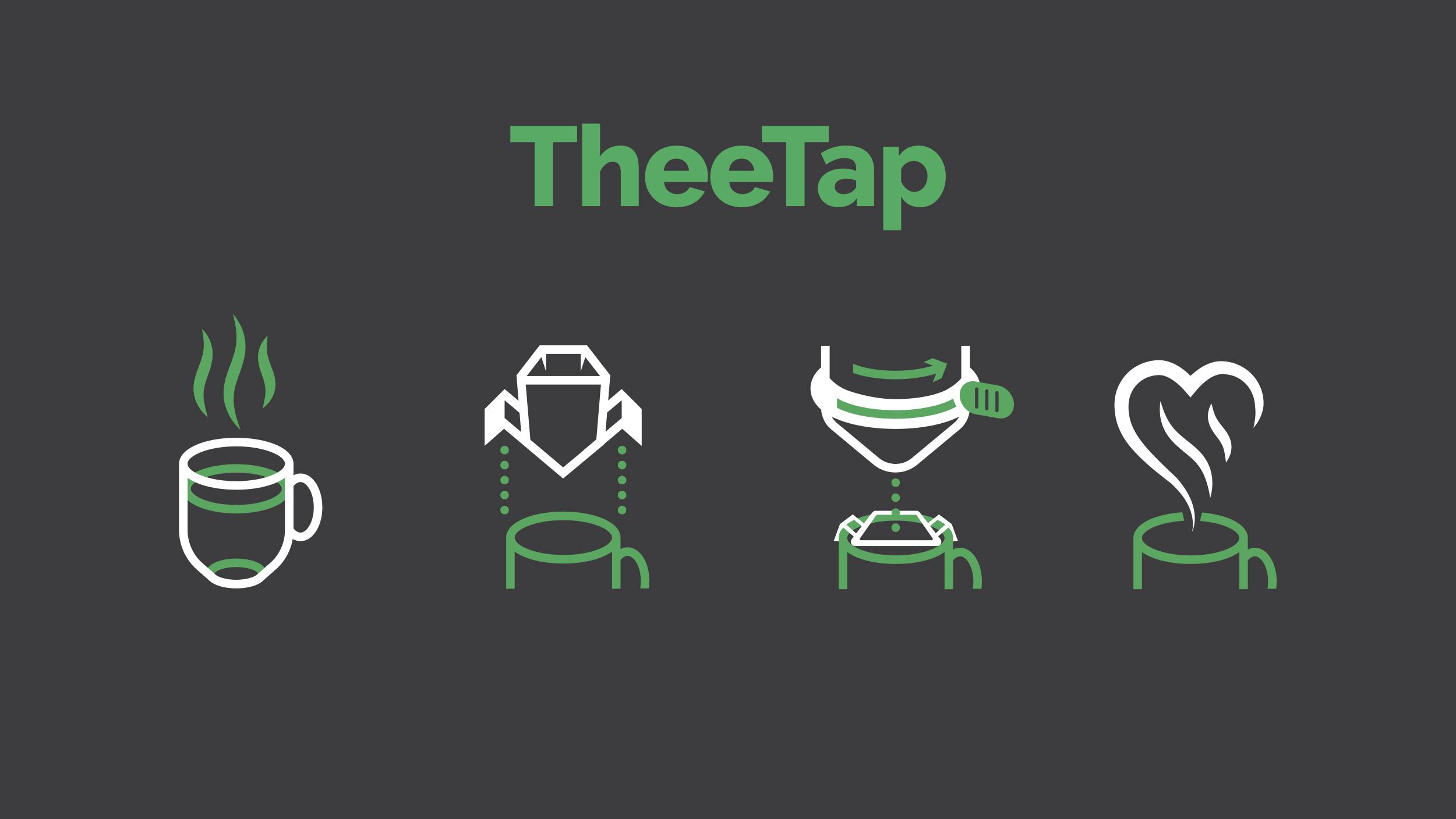 Instructie iconen voor de 'theetap'