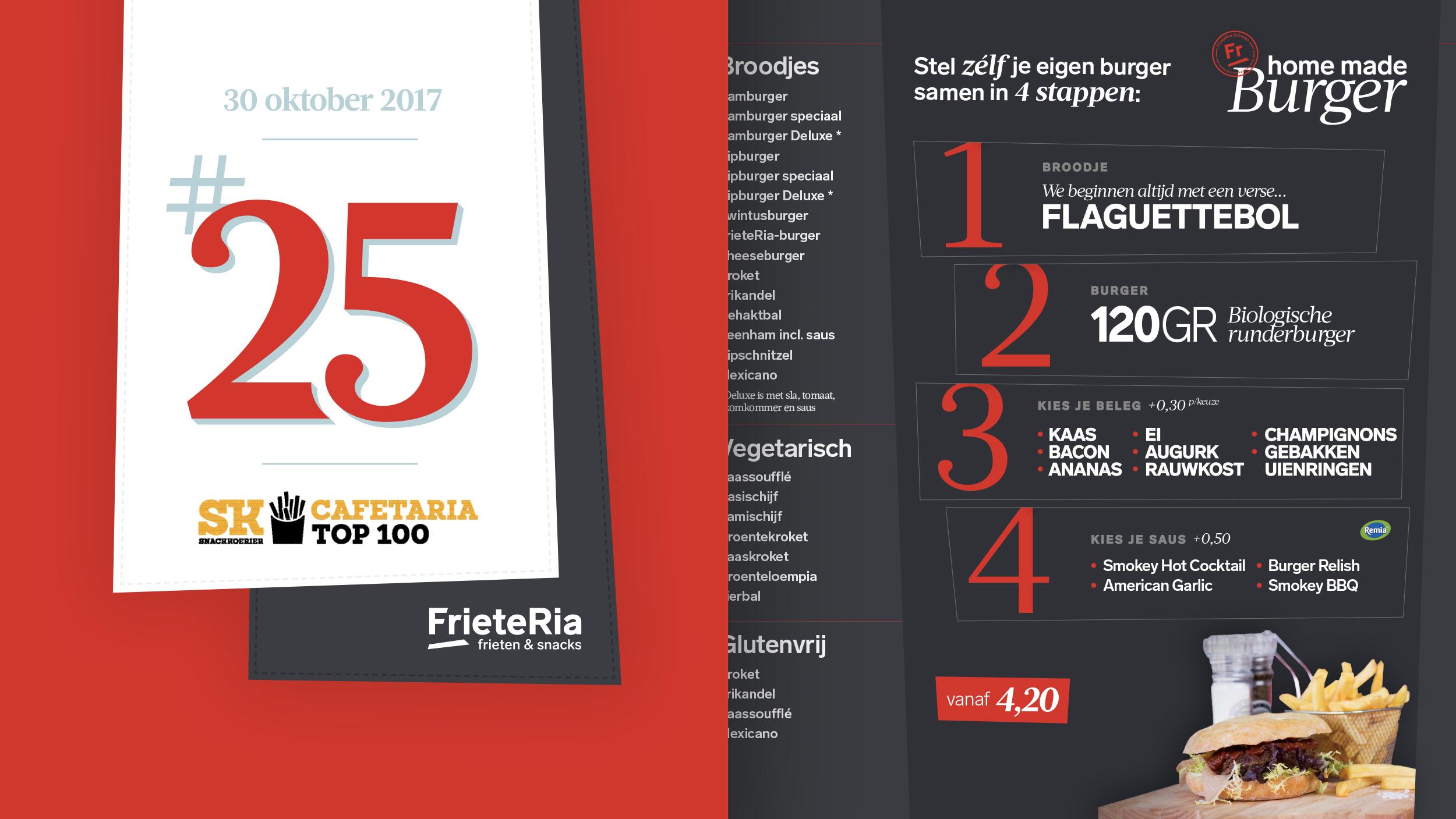 Banner 25e plaats Cafetaria Top100 (l) & Fragment prijslijst in de FrieteRia (r)