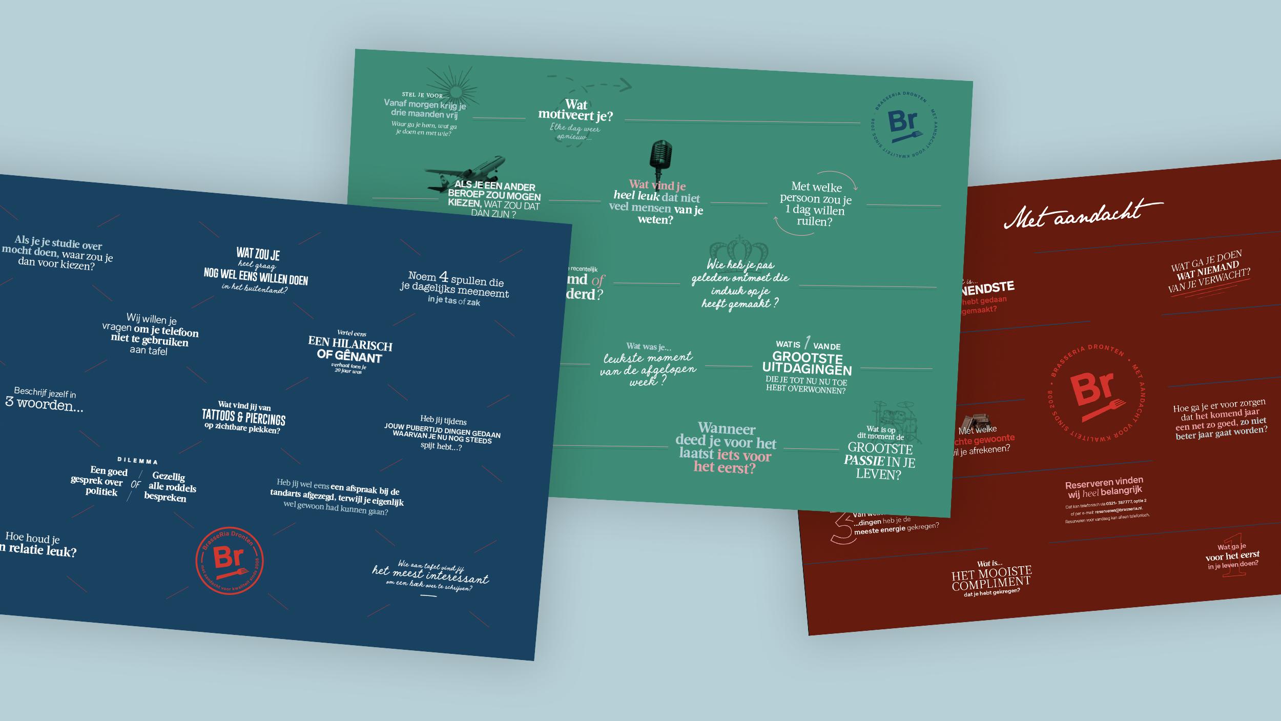 Typografische placemats met leuke vragen om aan tafel aan elkaar te stellen