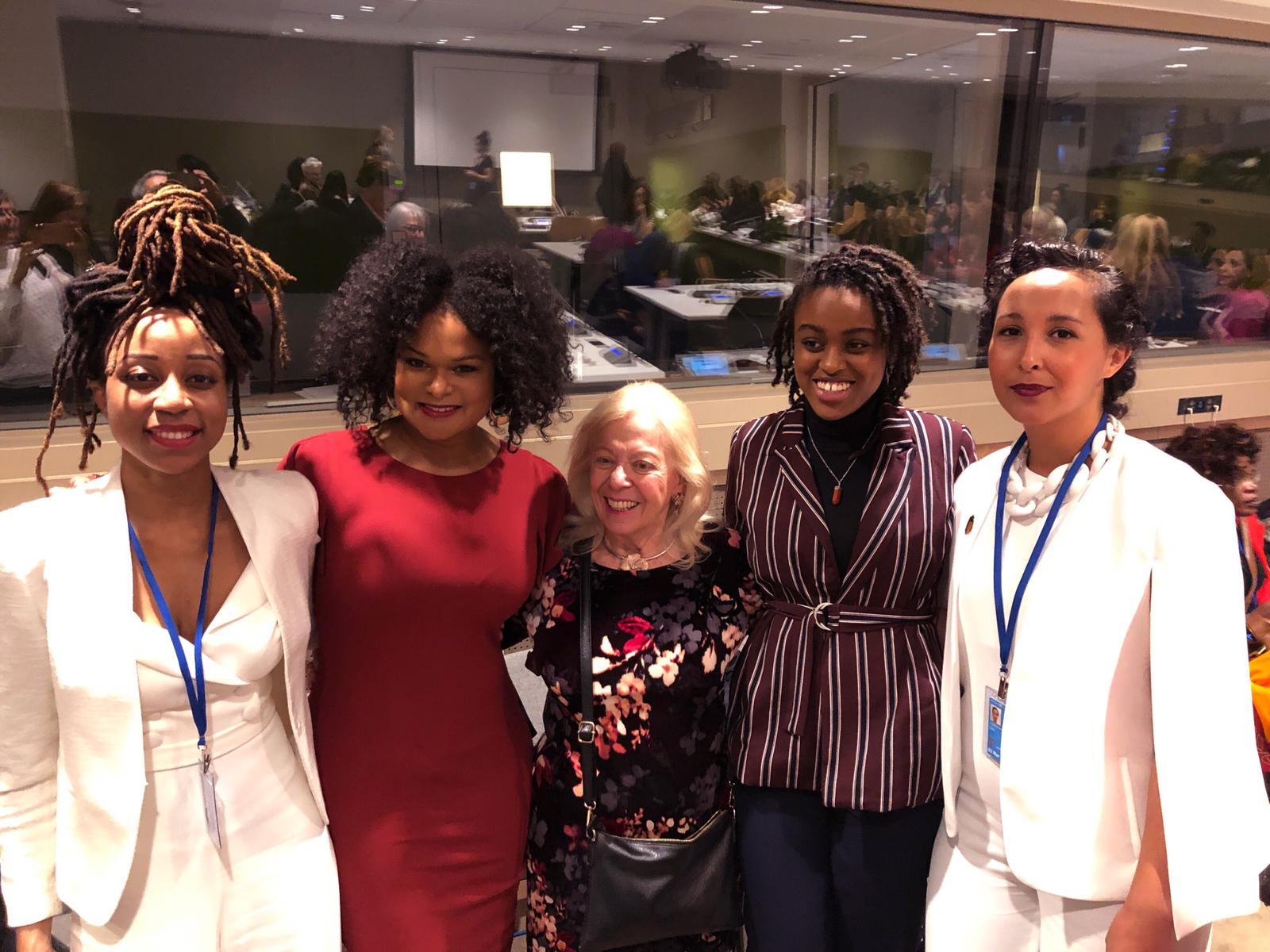 From left to right: Clarice Gargard, Raquel Willis, Edith Lederer, Camryn Bruno and Hasna El Maroudi.