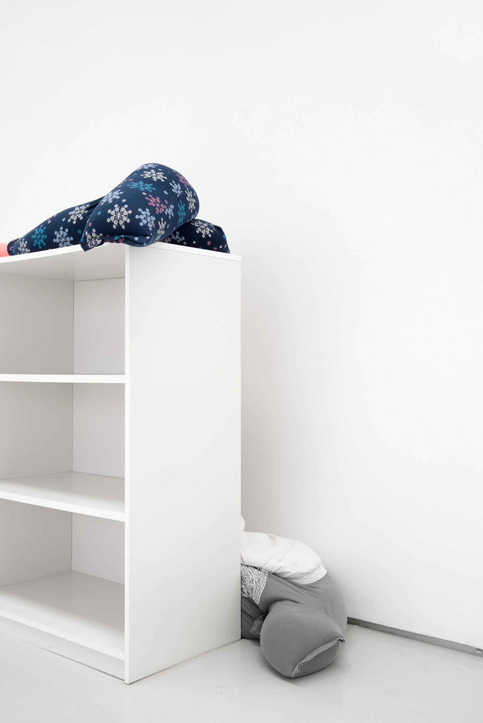 Collapse, slide, bottom-out beside low on a bookshelf, Alex Farrar, Bloc Projects, 2019, 3.jpg