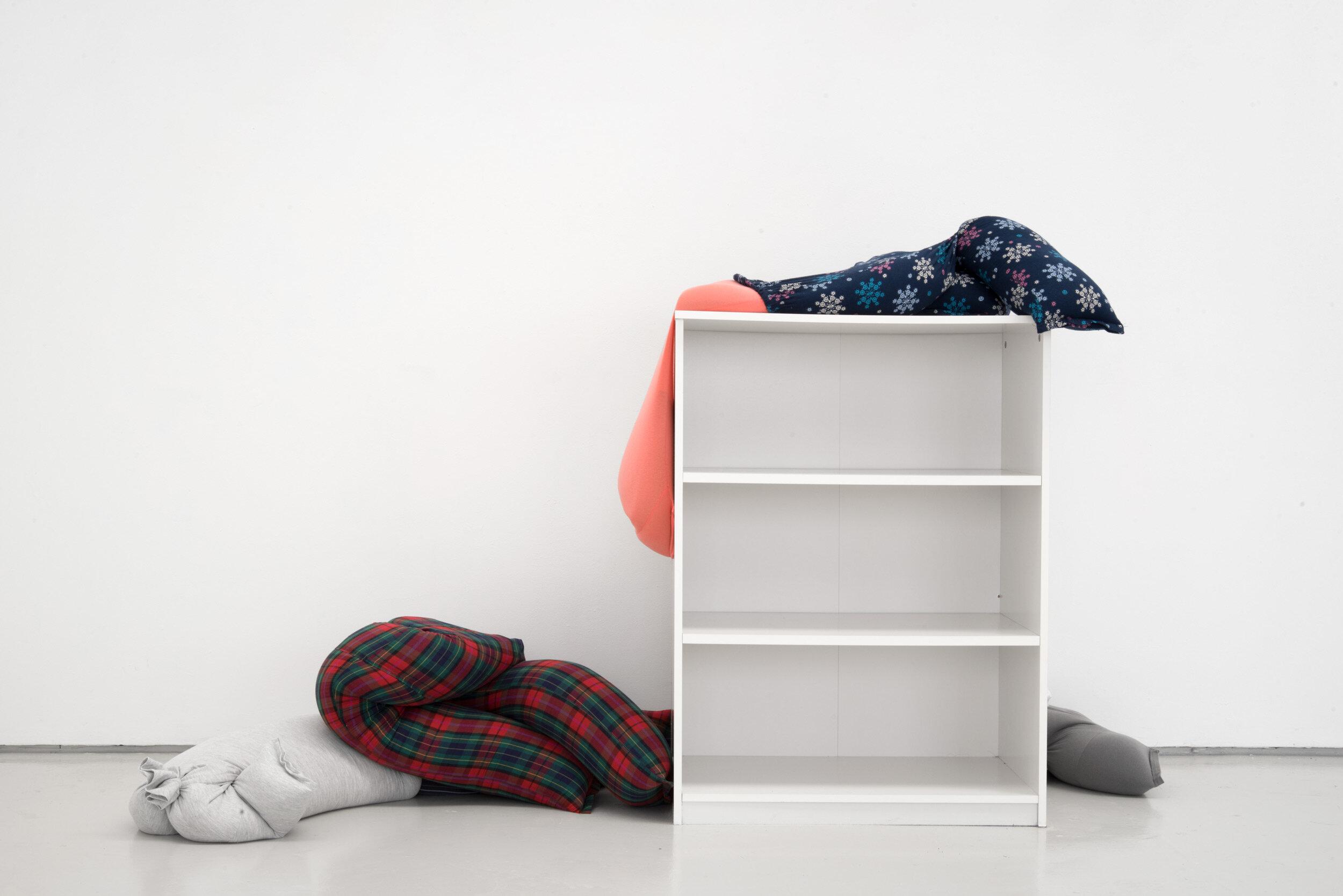 Collapse, slide, bottom-out beside low on a bookshelf, Alex Farrar, Bloc Projects, 2019, 1.jpg