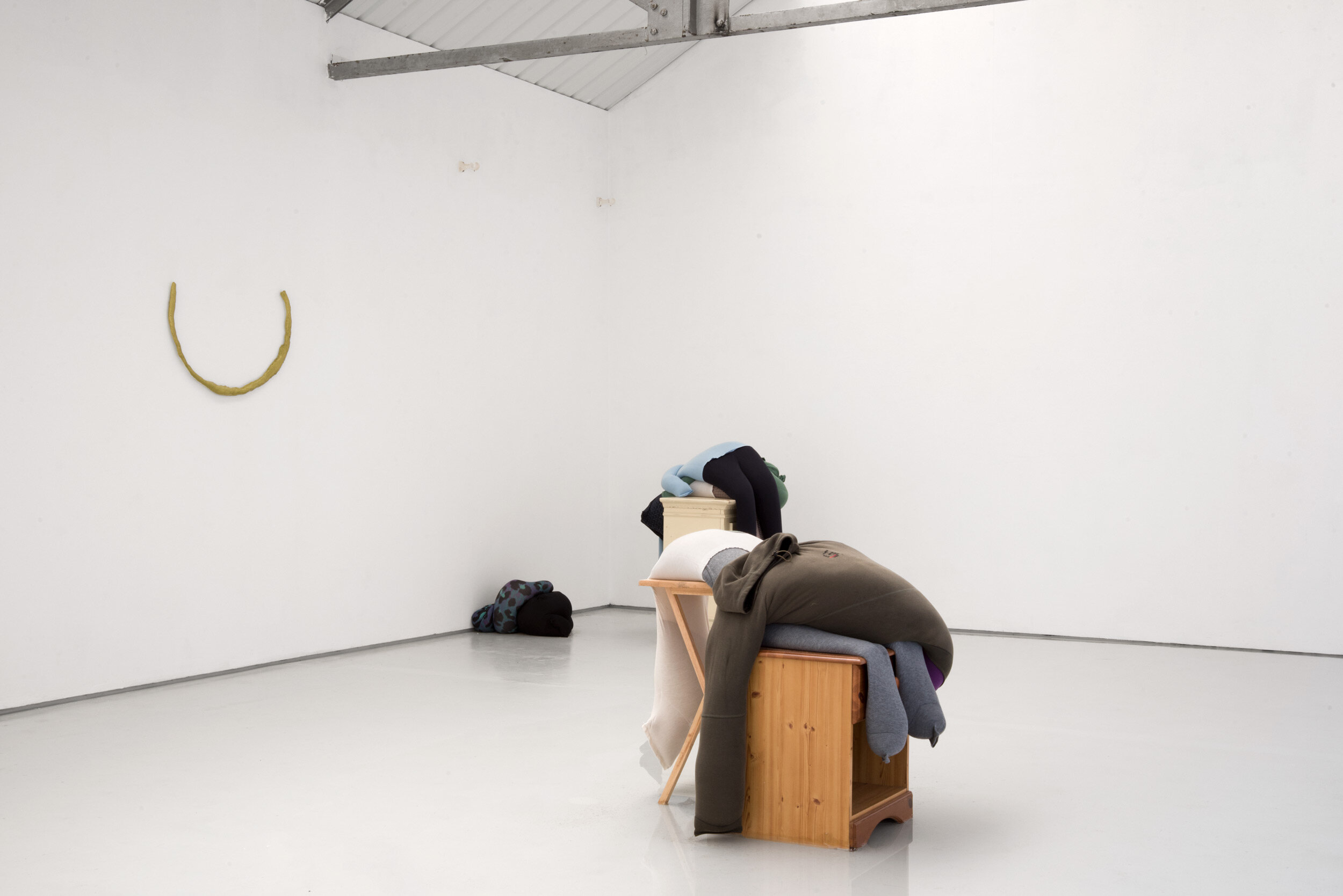 Fall, slump, drop on a bedside cabinet in water[...], Installation View, Alex Farrar, Bloc Projects, 2019, 2.jpg