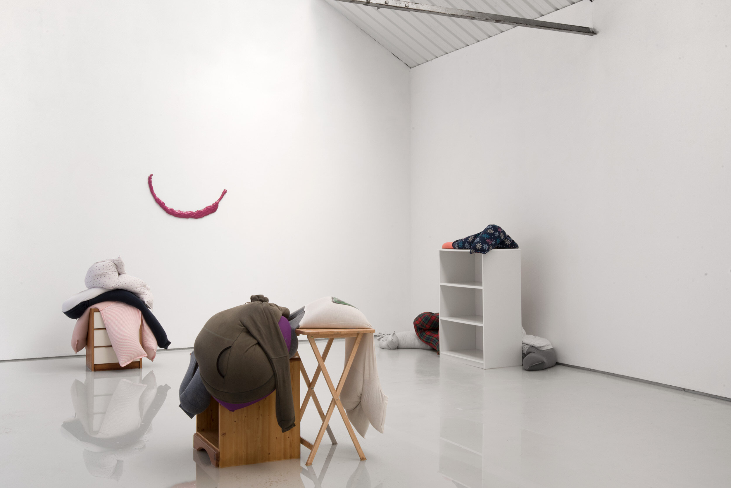 Fall, slump, drop on a bedside cabinet in water[...], Installation View, Alex Farrar, Bloc Projects, 2019, 1.jpg