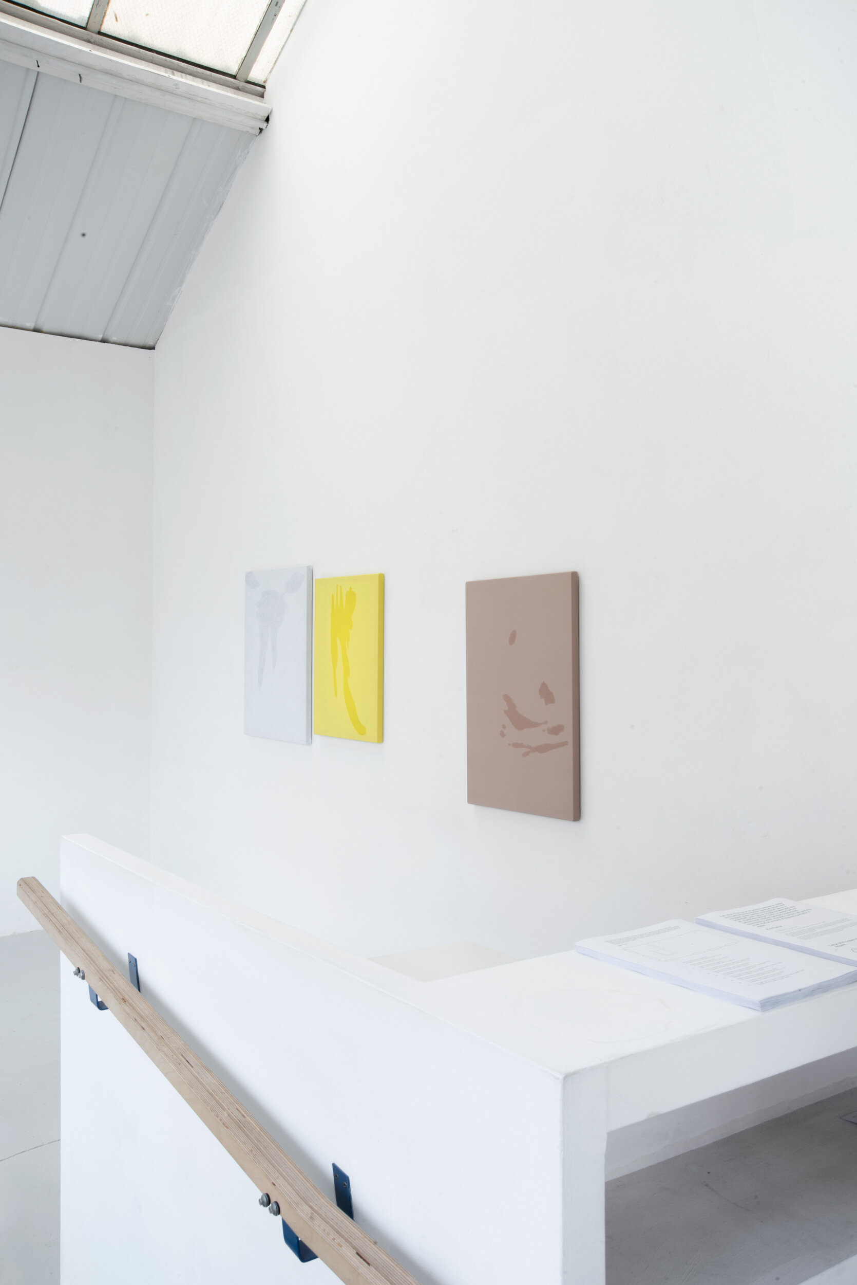 Broke (sweat painting), Infra (sweat painting) and Careful (sweat painting), Installation View, Alex Farrar, Bloc Projects, 2019.jpg
