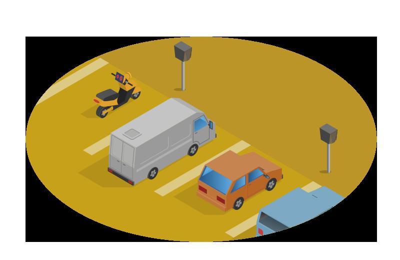 Vaihtoehto 1 - Parkkialueella ei ole nimettyjä paikkoja.Työnantaja haluaa tarjota työpaikkalatauksen työntekijöille etuna.Työnantaja pidättää 30 €/kk verotusarvon ennakonpidätyksen lataamisetua nauttivilta työntekijöiltä. KWh-mittareita ei tarvitse seurata.Latarien avulla mitä tahansa autopaikkaa voidaan käyttää lataamiseen tai lämmittämiseen.